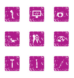 Health service icons set grunge style vector