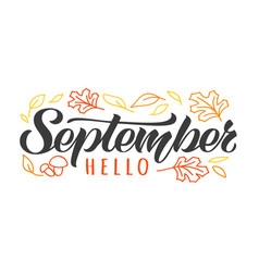 hello september hand drawn lettering card vector image