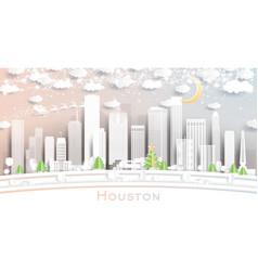 Houston texas usa city skyline in paper cut style vector