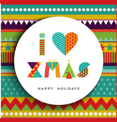 I love christmas greeting card design in fun color vector image