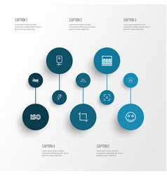 image icons line style set with center focus vector image