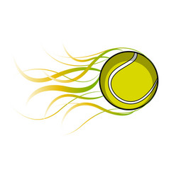 isolated tennis ball with a fire effect vector image