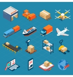 Isometric Logistic Icons vector image