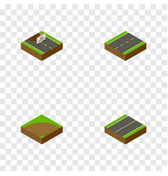 Isometric way set of sand driveway repairs vector