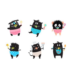 kids mosters black hand drawn cartoon clip art vector image
