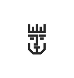 king face logo portrait royal person in crown vector image