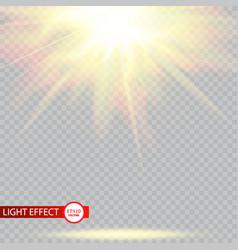 Lens flare light effect sun rays with beams vector