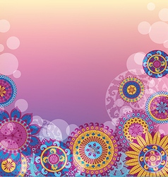 Light background with colorful mandalas vector image
