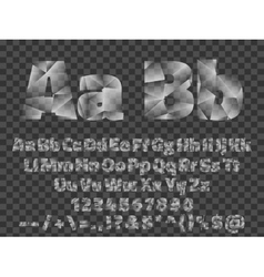 Lowpoly font alphabet with numbers and symbols vector