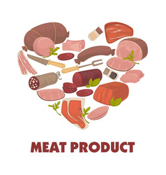 Meat products of high quality in heart shape promo vector