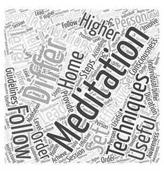 Meditation instructions Word Cloud Concept vector
