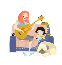 Mother playing guitar vector