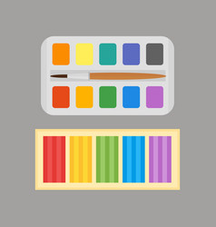 multicolor watercolour paint box and plasticine vector image