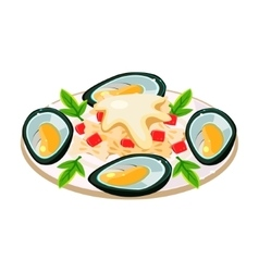 Mussels with Noodels on a Dish vector