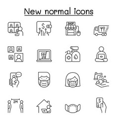 new normal lifestyle icon set in thin line style vector image