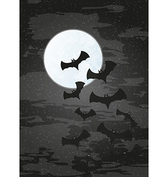 Night with moon and bats vector