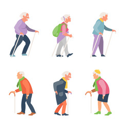 Nordic walking old people travelers with canes vector
