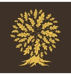 Oak tree silhouette isolated on brown background vector