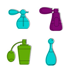 Old fashion perfume icon set color outline style vector