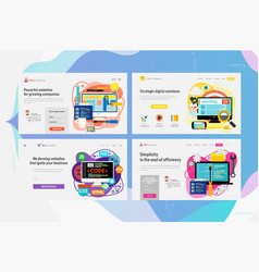 one page website kit for webdesign and developing vector image