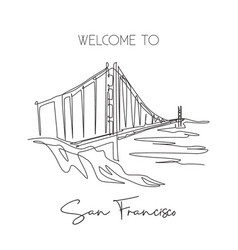 one single line drawing golden gate bridge vector image
