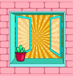 open window cactus pop art vector image