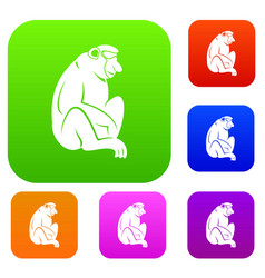 Orangutan set color collection vector