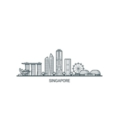 Outline Singapore banner vector