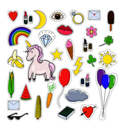 patches collection with unicorn isolated on white vector image