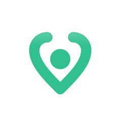 Pin location love shape symbol design vector