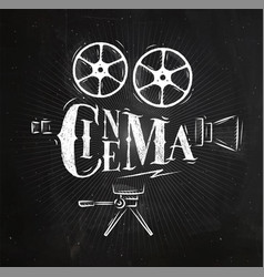 Poster movie camera chalk vector