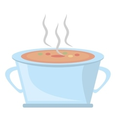 Pot steel soup hot cooking design vector