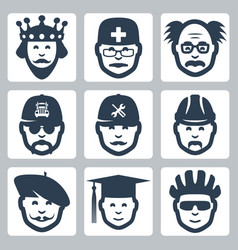 Profession icons set king doctor scientist vector