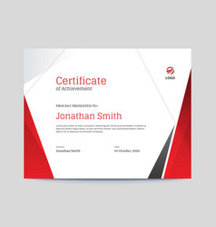 Red and grey shapes certificate design vector