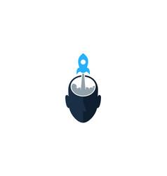 rocket human head logo icon design vector image