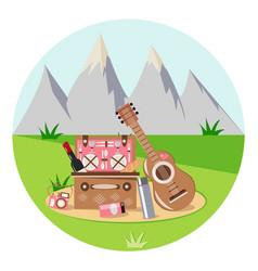 romantic picnic in nature vector image