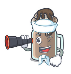 Sailor with binocular milkshake mascot cartoon vector