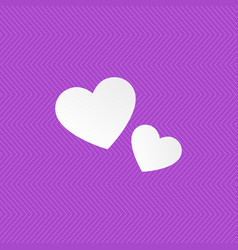 seamless pattern violet color two white hearts vector image