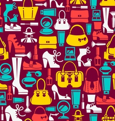 Seamless pattern with beauty female icons vector