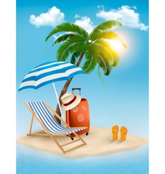 Seaside view with a palm tree beach chair and vector