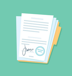 signed paper documents manual signature on vector image