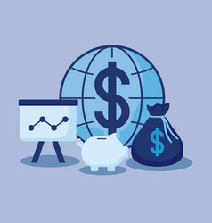 sphere with set icons economy finance vector image