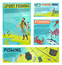 sport fishing banner with fisherman and fish catch vector image