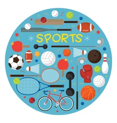 Sports Equipment Flat Icons Label vector