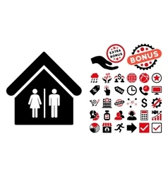 Toilet Building Flat Icon with Bonus vector image vector image