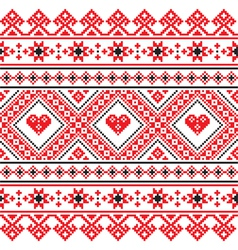 Traditional folk art knitted red embroidery patter vector