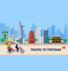 Travel to vietnam concept banner flat style vector