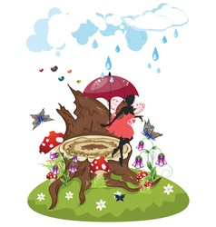 Tree Stump and Fairy vector image