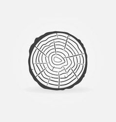 Trunk slice with tree rings concept icon vector