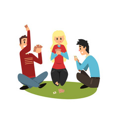 Two men and girl playing cards friends having vector